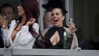 Jessica hayed and Katie Salmon Flashing Her Nipples at Cheltenham Festival 2016