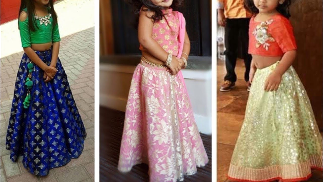 36f41a75c1 Crop Top Lehenga Designs Ideas For Kid || Beautiful Indo Western Dresses  For Little Girls