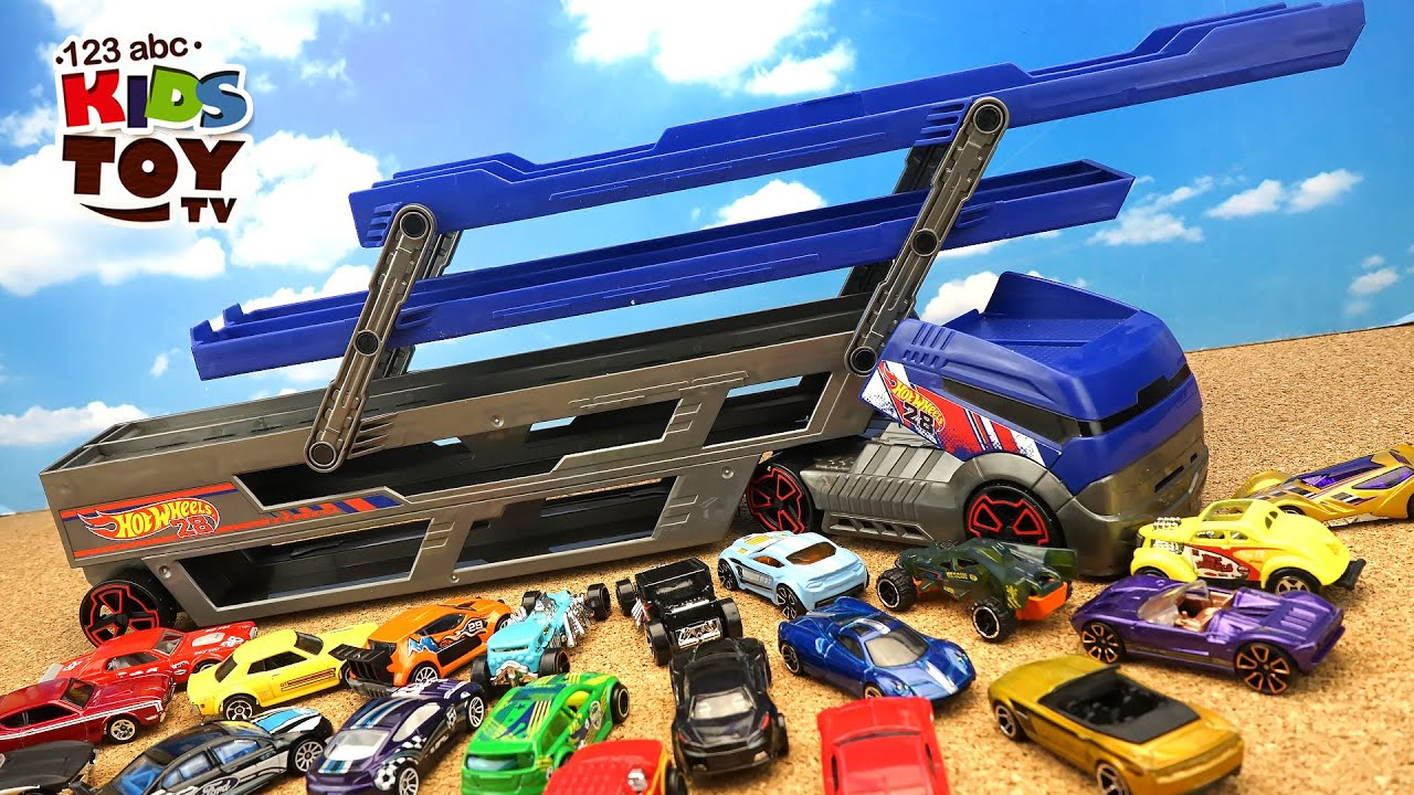 Hot Wheels Transporter and 40 Cars! Video for kids about ...