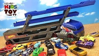 Hot Wheels Transporter And 40 Cars! Video For Kids About The Toy Transporter. Truck And Cars