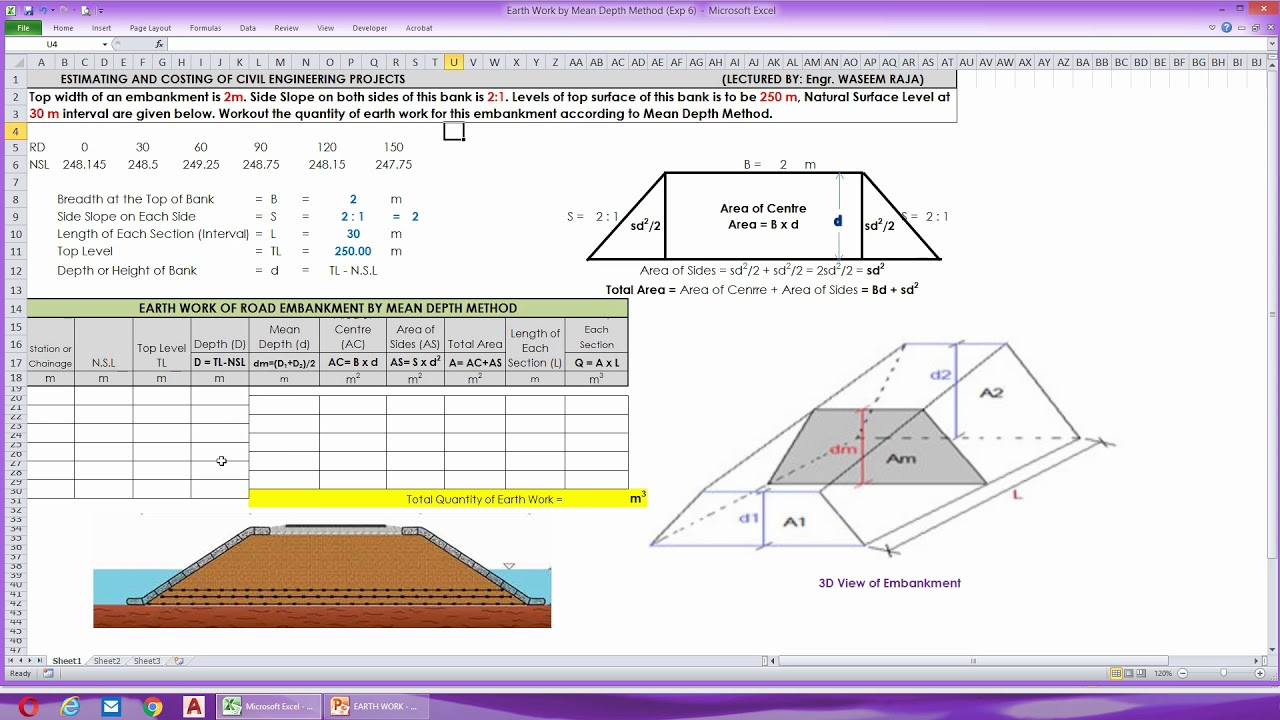 Earth Work of Road Embankment | Mean Depth Method | Road Works | Earthwork  Calculation Formula