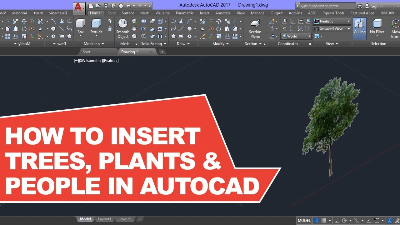 How to insert Trees in AutoCAD 3D Easily