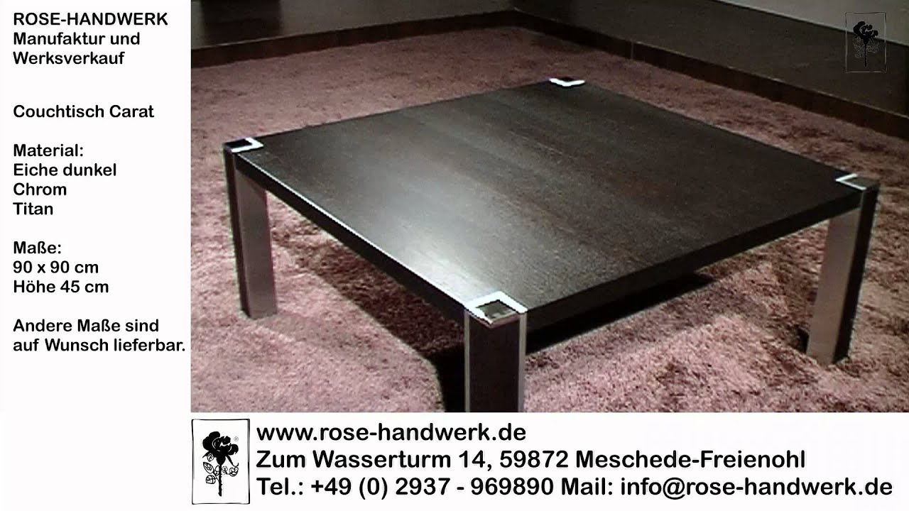 couchtisch carat holz eiche dunkel metall chrom titan youtube. Black Bedroom Furniture Sets. Home Design Ideas