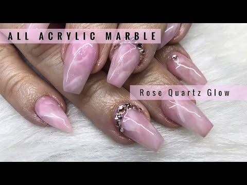 Watch Me Work: ✨ALL ACRYLIC✨🌹Rose Quartz Marble WITH GLOW IN THE DARK MARBLING😎🙌🏾