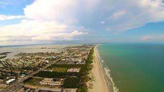 Over Lori Wilson Park and Cocoa Beach Aerial Drone Video