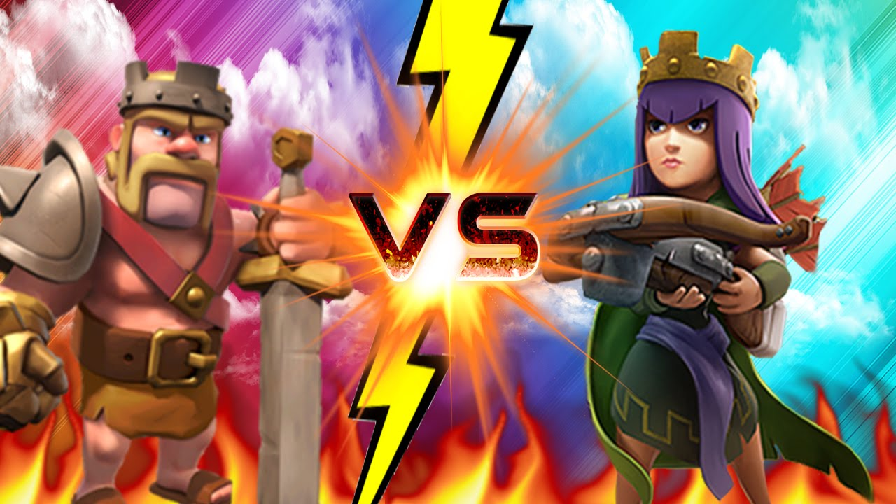 "CLASH OF CLANS BARBARIAN KING VS ARCHER QUEEN ""MUST WATCH"""