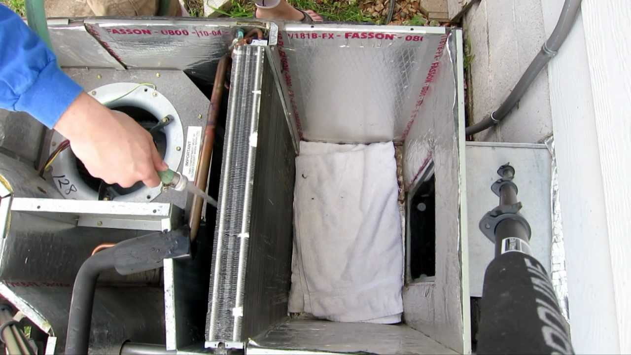 cleaning all in one outside unit evaporator and condenser coil package unit air conditioner ac diy tinker [ 1280 x 720 Pixel ]