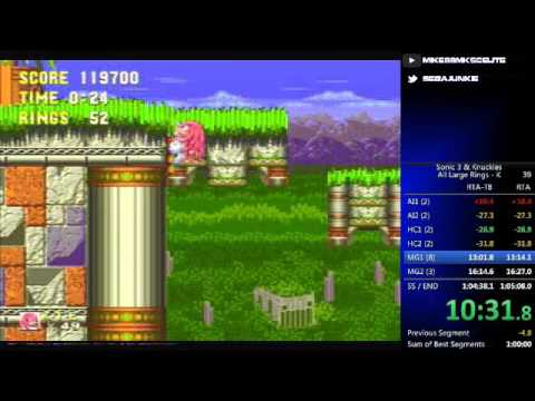 Sonic 3 & Knuckles - All Large Rings (Knuckles) Speed Run [58:46 RTA-TB]