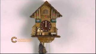 1 Day Cuckoo Clock W/ Beer Drinker Raising Mug - 9 Inches Tall- German Black Forest