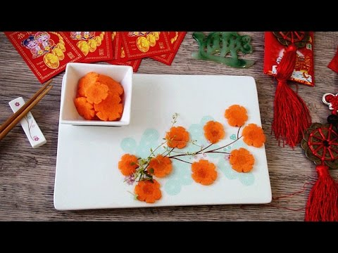 Art in carrot flowers vegetable carving garnish sushi for Art of food decoration