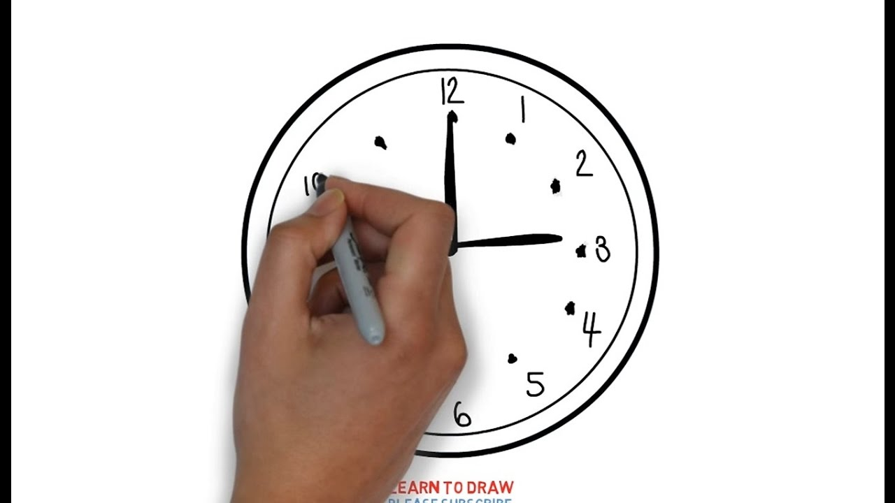 Easy Step For Kids How To Draw A Clock Youtube