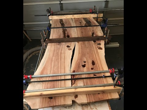 How to build an epoxy river table by connecting 2 large slabs (Part 1 Prep, Epoxy and Glue Up)