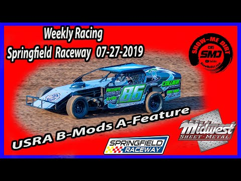 USRA B-Mods A-Feature - Springfield Raceway 7-27-2019 #DirtTrackRacing @Midwest Sheet Metal http://msmfab.com/ @ShowMeDirt.com For photos head ... - dirt track racing video image