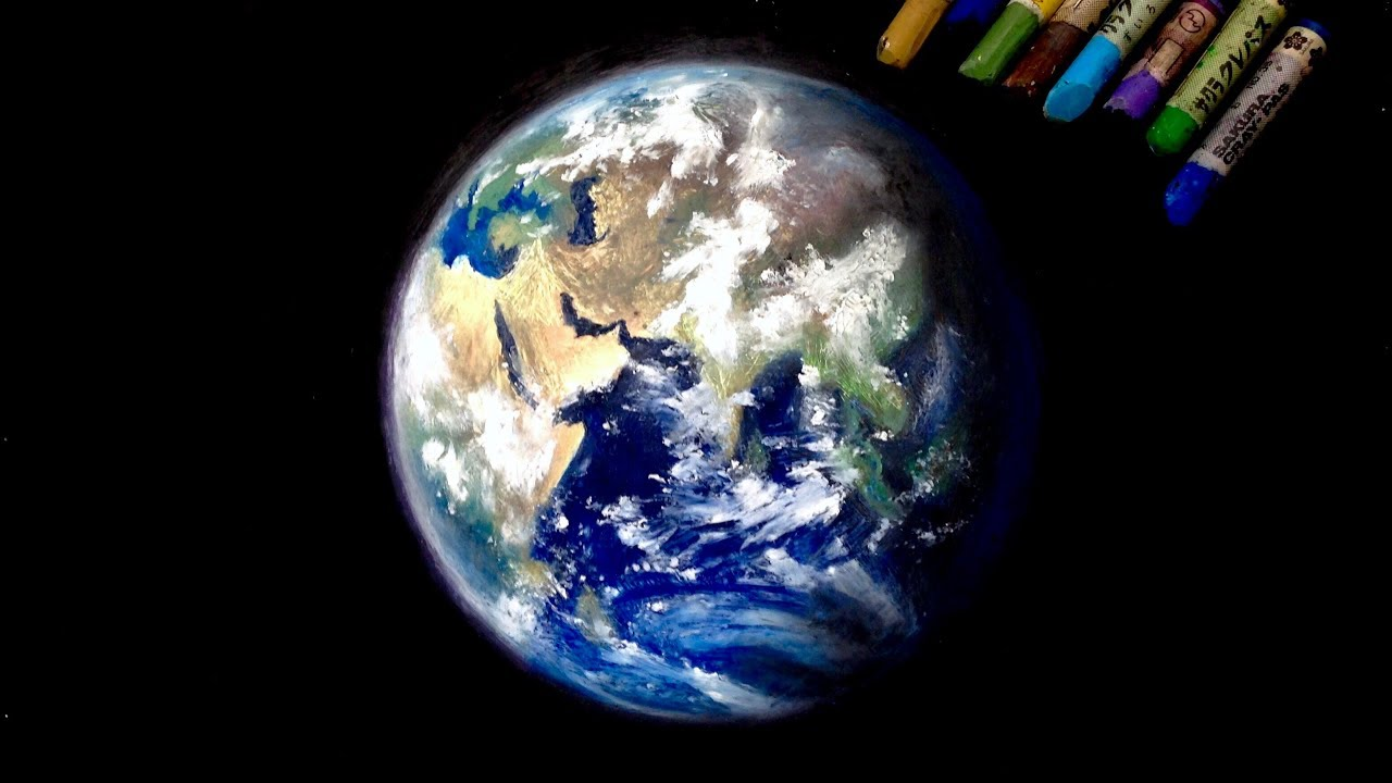 "Oil pastel painting ""The earth"" by polka. - YouTube Earth Painting Oil"