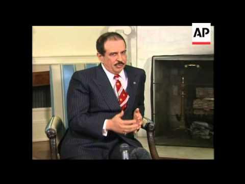 US President Bush meets King of Bahrain, bites