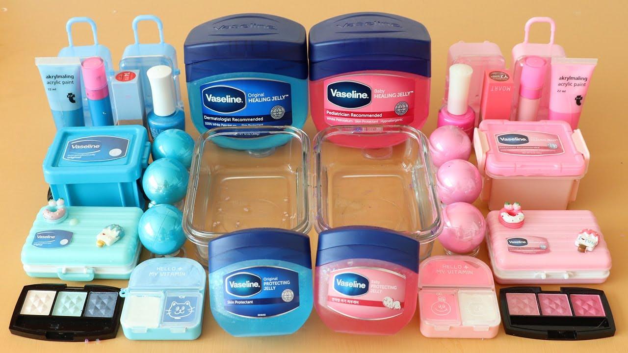 """Mixing""""Pink Vaseline vs Blue Vaseline"""" Eyeshadow and Makeup Into Slime!Satisfying Slime Video!★ASMR★"""