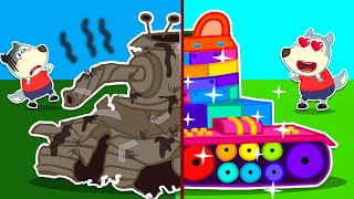 Baby Wolf Builds New Giant Lego Tank - Lego Truck - Creative Ideas For Kids | Wolfoo Channel