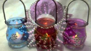 designer  glass diwali diyas