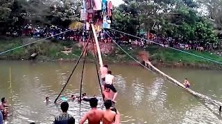 Lomba Panjat Pinang di Sungai Ngrowo Tulungagung (HUT Kemerdekaan RI ke-71)