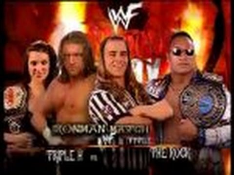 The Rock vs Triple H Iron Man match, WWF Championship, Shawn Michaels as special guest referee)
