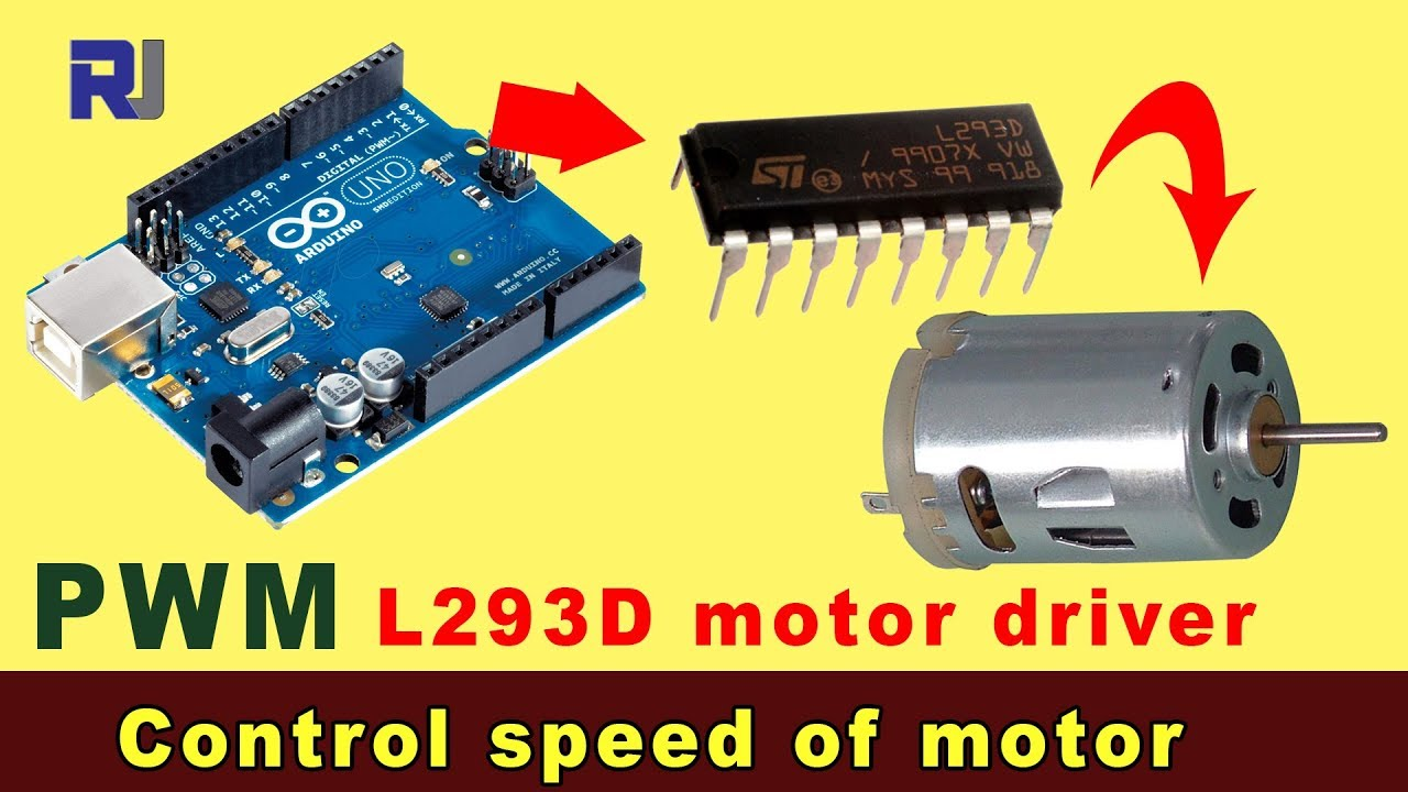 Control Dc Motor Using L293d Driver With Aarduino Pwm Youtube This Circuit It Is Possible To The Speed Of Motors