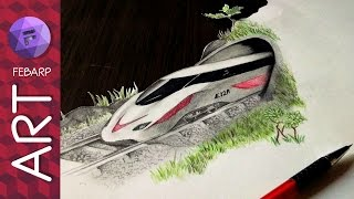 Amazing Optical Illusion - 3D Bullet Train Drawing