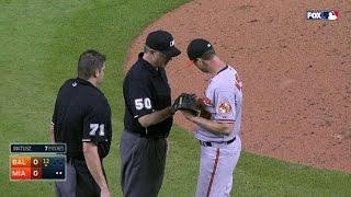 BAL@MIA: Foreign substance on arm gets Matusz ejected