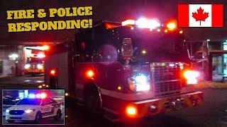 Montréal | Montréal Fire (SIM) Pumper 220 & Tower 720 + Montréal Police (SPVM) Patrol Car Responding