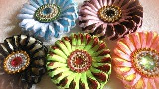 Зефирки канзаши цветы из лент, мастер класс, лепесток