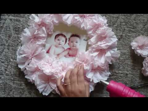 DIY photo frame from cake base board | DIY photo frame  from tissue paper | Best out of waste