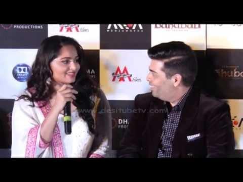 Controversial Anushka Shetty With Karan Johar At The Trailer Launch Of 'Baahubali-The Beginning'