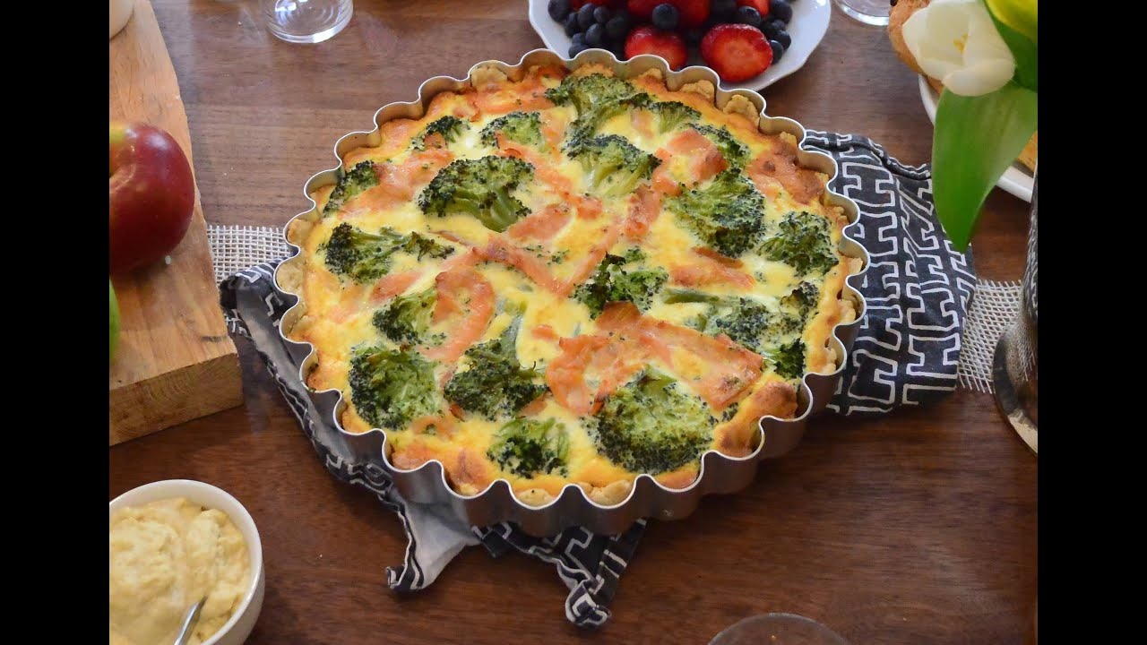 rezept f r quiche mit lachs und brokkoli youtube. Black Bedroom Furniture Sets. Home Design Ideas