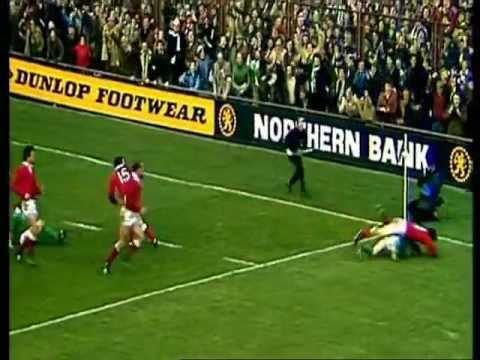 Moss Finn try vs Wales 1982