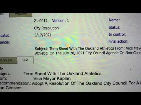 Oakland City Council - Oakland Athletics Term Sheet To Be Scheduled For July 20th Meeting, Today - Vlog