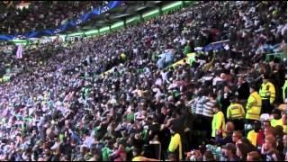 Celtic supporters do the huddle v Ajax