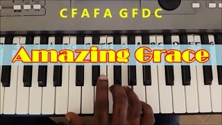 Gambar cover Amazing Grace Easy Piano Keyboard Tutorial (Right Hand)