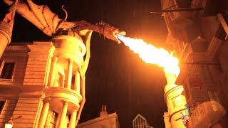 Crowd cheers for Diagon Alley Dragon breathing fire, day & night at Universal Orlando