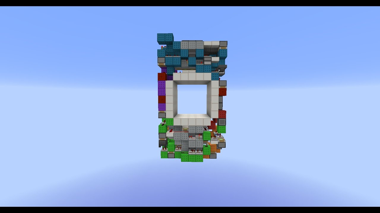 Minecraft tiny 5x5 piston door tutorial 765 blocks for Porte 3x3 minecraft