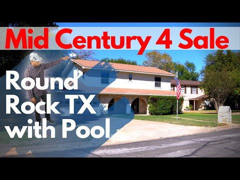 Round Rock House For Sale With Pool - Brady Bunch Mid Century Style