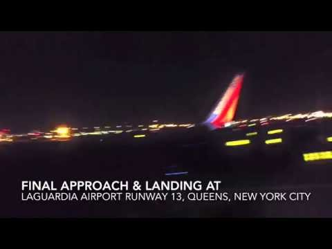Windy & Rough Late Night Landing at LaGuardia Airport (LGA)- Southwest Airlines (HD)