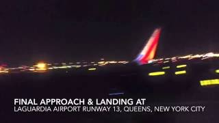 windy rough late night landing at laguardia airport lga southwest airlines hd
