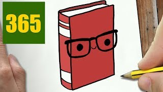 HOW TO DRAW A BOOK CUTE, Easy step by step drawing lessons for kids