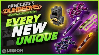 Every NEW Unique Item And Where To Find It| Minecraft Dungeons Jungle Awakens DLC