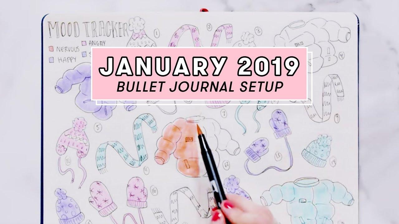 Calendrier 2019 Bullet Journal.January 2019 Bullet Journal Setup Plan With Me