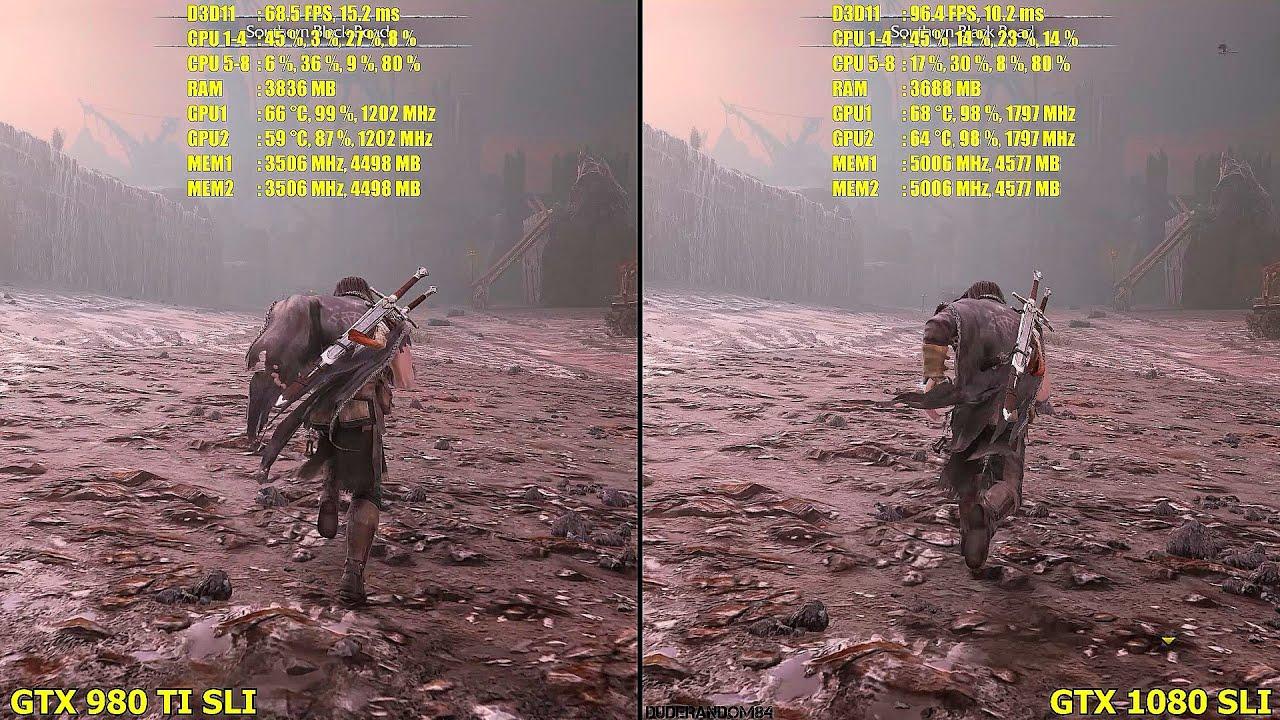 GTX 1080 SLI Vs GTX 980 TI SLI 4K Middle Earth Shadow Of Mordor Frame Rate  Comparison