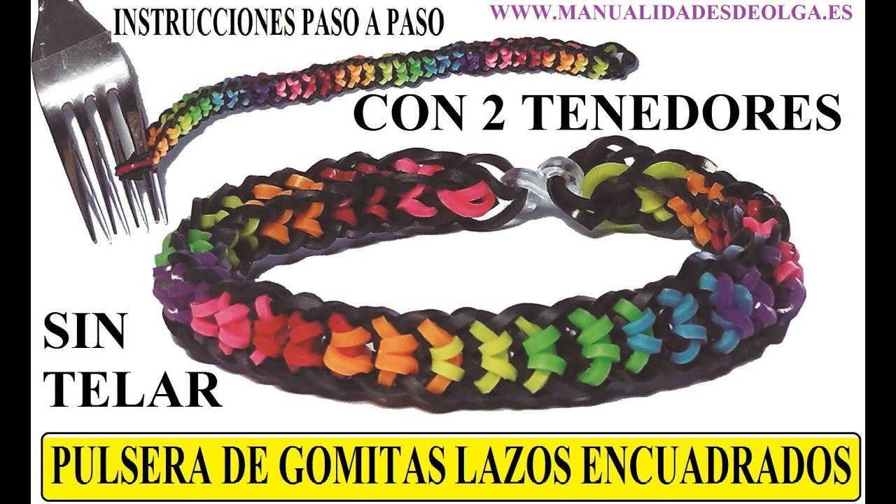 ca6f237beb33 COMO HACER LA PULSERA LAZOS ENCUADRADOS DE GOMITAS CON DOS TENEDORES, SIN  TELAR RAINBOW LOOM