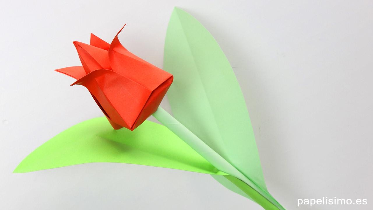 Tulipán de papel - Flores de origami - Papiroflexia