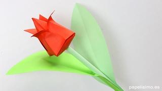 Tulipán de papel - Flores de origami - Papiroflexia + SORTEO
