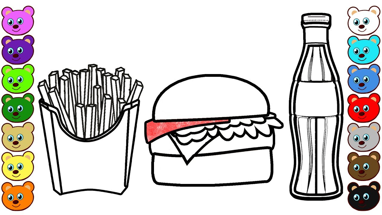 hamburger soda and french fries coloring pages