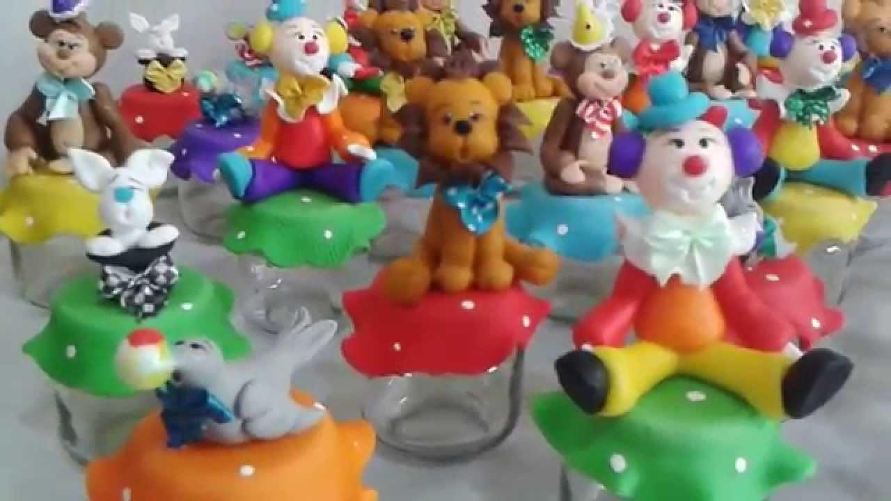 Bolsa De Festa De Aniversario : Lembran?a potinho de papinha tema circo em biscui